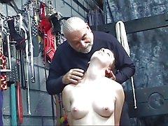 Dominant guy helps naked chick masturbate