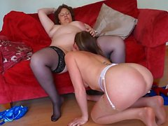 Fat old babe makes out with a cute college babe