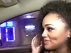 Ebony teen Julie Kay arouses the driver