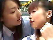 Japanese Girls Sharing Cum In A Classroom
