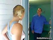 Blonde babysitter sucks her bosss cock