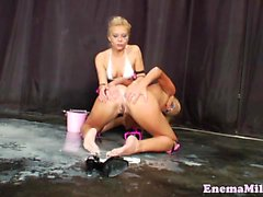 Fetish bizarre milk enema lesbos