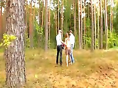 Amateur french threesome in the forest