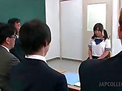 Sweet asian school babe seducing horny teachers in class