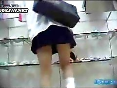 Young gals in short skirts get their snatches caught on spycam in public