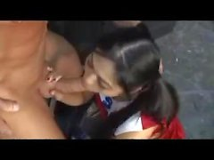 Asian cheerleader and her muscular lover