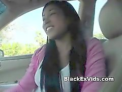 Black girlfriend strips in car for sex