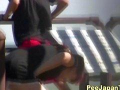Pink underwear teen piss as no one watches