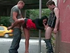 Risky public sex threesome on the street AMAZING