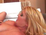 Voluptuous blonde lesbians enjoy kinky dildo play and anal f