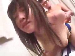 Bodacious Japanese teen has two guys sharing her mouth and