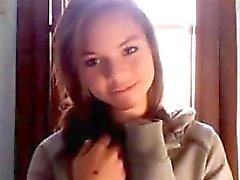 Super hot petite brunette teen nice tits plays with pussy