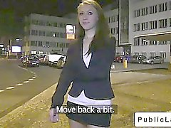 Cute brunette flashing and fucking on the streets
