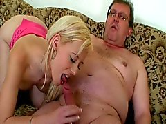 Young blonde celebrates old mans birthday with sex