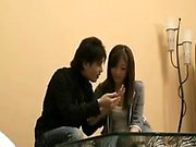 Slender Japanese babe has a horny boy caressing her marvelo