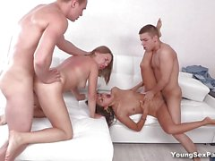 Sizzling babes fucked in foursome