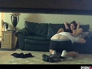 Voyeur Sextape Together With The GF About The Sofa