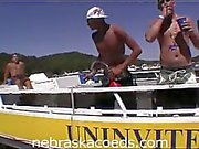Hot college chicks dance topless on boat