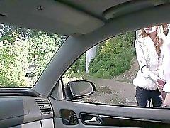 Blonde teen sucks and fucked in public
