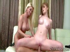 Erotic blonde MILF makes beautiful redhead teen mounts husband