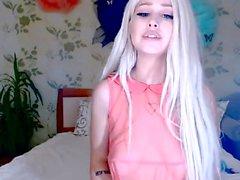 Sexy teen bouncing big boobs on webcam