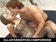 Miyo Kasuge gets cum on hot ass over fishnet