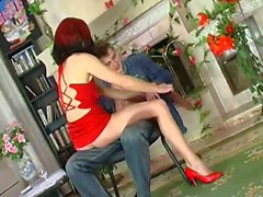 Mature chick with two-toned hair seduces a young punk