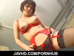 Mai Haruna busty doll throats cock and strokes it hard