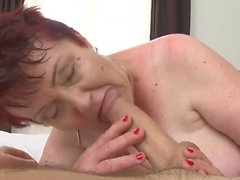 Horny old BBW fucked by a stiff young dick