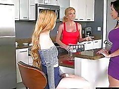 Hot mom and teen babe pleasuring each pussies on the couch