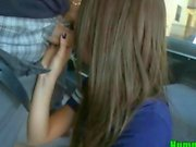 Petite Brunette Babe Sucking on Dick on the Hump Bus