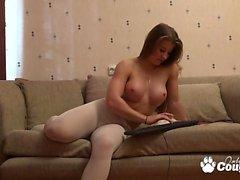Massive boobs blonde masturbating on webcam