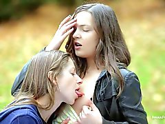Lesbian teens Ivana and Mika have fun in nature