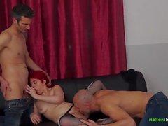 Young Redhead Italian Slut Fucking with 2 Cocks