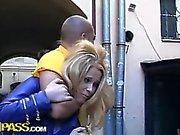 Cute teen girl in crazy anal gang bang