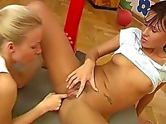 Cindy and Amber tearing up each other in the gym
