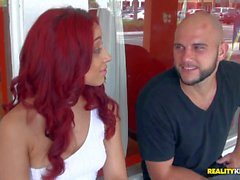 Young redhead Latina reveals pierced nipples to Jmac