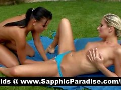 Dara and Anetta brunette and blode lesbos licking pussy and doing 69 and having lesbo love
