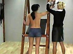 Blonde mistress spanks a gal