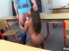 Desirable schoolgirl gets fucked in the classroom