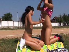 Public cum compilation Sporty teens tonguing each other