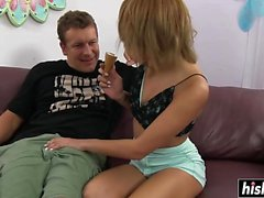 Blonde Marina Angel likes riding a fat cock