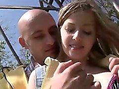 Abby sucking knob outdoor
