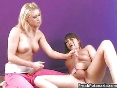Two big cock girls love jerking each