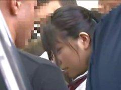 Young Schoolgirl ganggroped in a subway