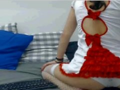 Cosplayer Nurse Teen showing Pussy in Webcam