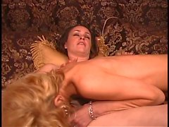 Blonde and brunette lesbian ass licking lovers with shaved pussies finger fuck