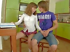 schoolgirls sex on the kitchen table