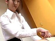 Cute and perky Nao Kojima takes care of her patient by massaging his body