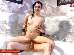 Tiny Pissing Lover Khadisha Latina gets wet 666Bukkake